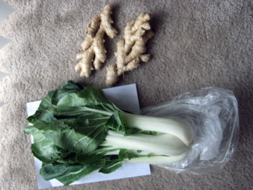 Ginger root and bok choy