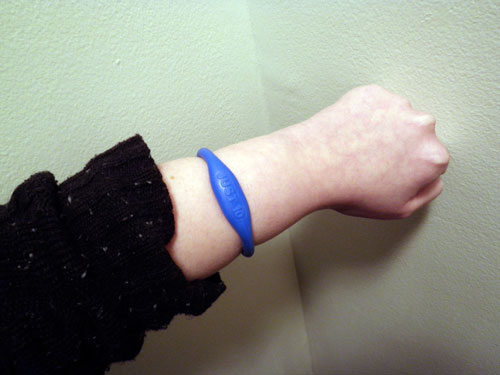 The blue wristband of dorkitude