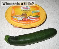 Zucchini and hummus